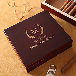 Personalized Cherry Wood Cigar Humidor - Golf Club Design