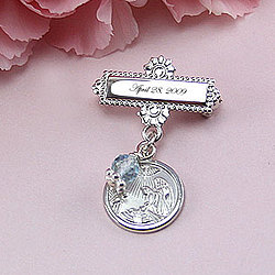 Sterling Silver Engravable Christening/Baptism Pin