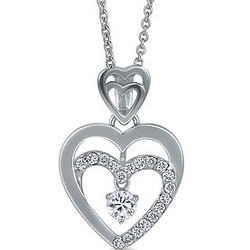 Sterling Silver Necklace Cubic Zirconia Double Heart Pendant