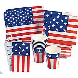 Patriotic Flag-Shaped Tableware and Invitations