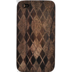 iPhone 4 Argyle Design Hard Wood Back Cover Case
