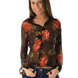 Black and Red Floral Silk Chiffon Button-Up Top