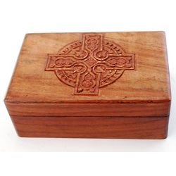 Wood Box with Celtic Cross Design