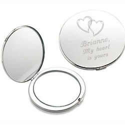 Personalized Our Hearts Silver Compact Mirror