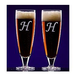 Monogrammed Elegante Crystal Pilsner Beer Glasses