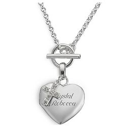 Cross Toggle Heart Locket Necklace