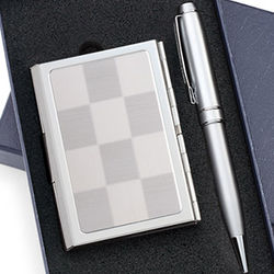 Silver Checkered Pattern Business Card Case and Pen