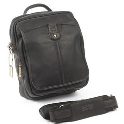 Men's Black Cowhide Leather Bag for iPad