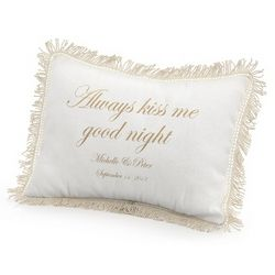 Always Kiss Me Goodnight Pillow with Gold Print