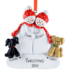 Personalized Snow Couple and Dogs Ornament