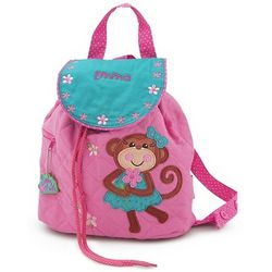 Girl Monkey Quilted Backpack