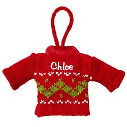 Red Personalized Mini Knit Sweater Ornament