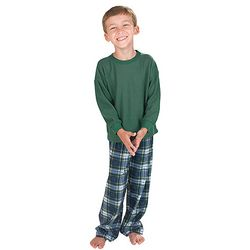 Boy's Tartan Plaid Thermal Top Pajamas