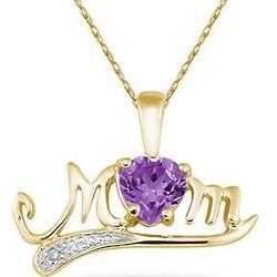Amethyst and Diamond Mom Necklace in 10K Yellow Gold