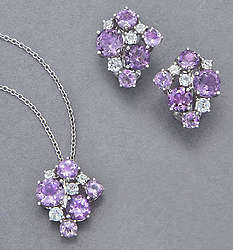 Amethyst & White Topaz Necklace and Earrings Set