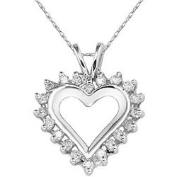 Classic White Gold and Diamond Heart Pendant