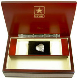 Military Emblem Memory Box with Heart Pewter Pocket Compass