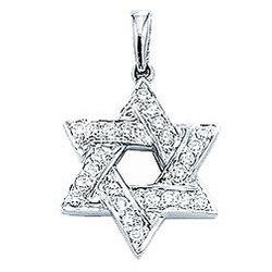 14K White Gold Diamond 2D Star of David Bracelet Charm