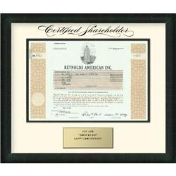 Framed Reynolds American Stock Certificate
