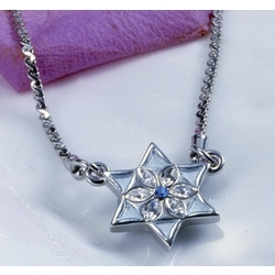Light Blue Gemstone Jewish Star Necklace