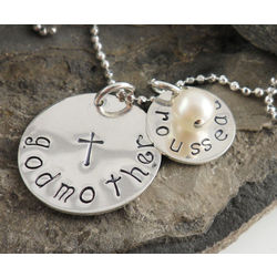 Godmother and Godchild Personalized Hand Stamped Necklace