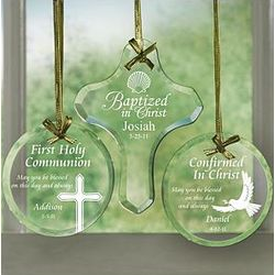 Personalized Religious Glass Ornament