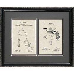 Police Handcuffs & Revolver Patent Framed 16x20 Art Print