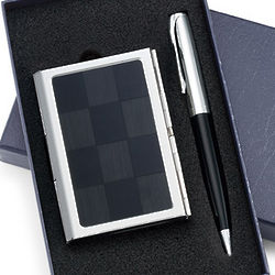 Engraved Black Checkered Pattern Business Card Case & Pen Set