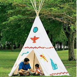 Cotton Canvas Teepee with Wooden Poles