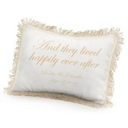 They Lived Happily Ever After Pillow with Gold Print