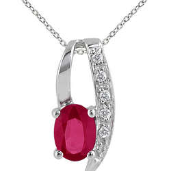 1.00 Carat Ruby and Diamond Pendant in Sterling Silver