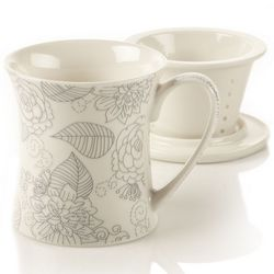 Linea Rose Bone China Infuser Mug