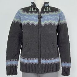 Icelandic Patterned Zip Up Sweater