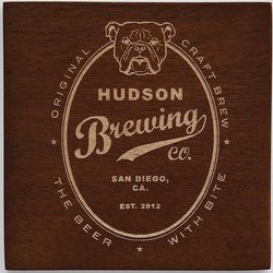 Personalized Wooden Bulldog Coasters with Stand