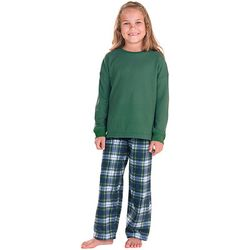 Girls' Tartan Plaid Pants and Thermal Pajama Top