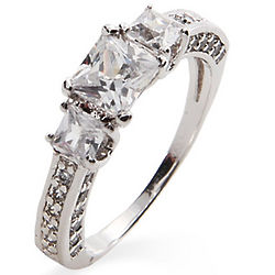Petite Princess Cut CZ Past, Present and Future Ring