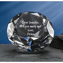 Optical Crystal Personalized Diamond Paperweight