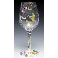 Flip Flops Hand-Painted Wine Glass