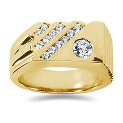 0.71 ctw Men's Diamond Ring in 14K Yellow Gold