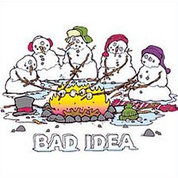 Bad Idea Snowmen Campfire T-Shirt