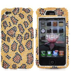 iPhone 4 Bling Plastic Case in Leopard Gold/Brown