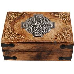 Wood Box with Celtic Metal Cross