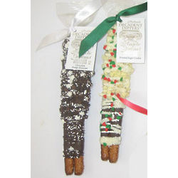 Chocolate Pretzel Dippers with Xmas Toppings