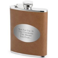 Engravable Brown and Silver Flask