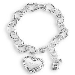 Silver Plated Heart Link Bracelet
