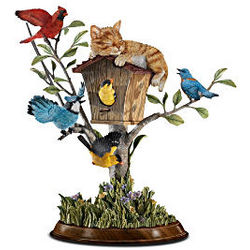 Wake-Up Call Cat & Bird Tree Figurine