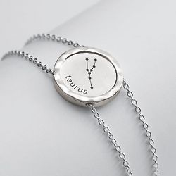 Sterling Silver Graphic Zodiac Bracelet