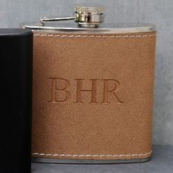 Personalized Stitched Hide Flask