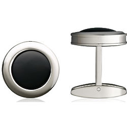 Stainless Steel and Onyx Colibri Hampton Cufflinks