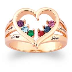 Mother's Birthstone Heart Name Ring